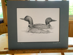 """Loon Pair,"" 11 x 14 matted print"