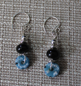 Black, Blue and Silver Earrings: Sterling Silver