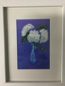 Flower with Blue Background, Original Painting