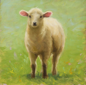 """Donegal Lamb,"" framed oil painting"