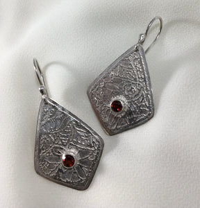 Etched Sterling Silver earrings with garnets