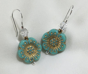 Turquoise flower earrings with crystals