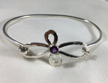 Load image into Gallery viewer, Sterling Flower Bracelet with Amethyst Gemstone