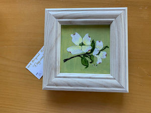 """Dogwood,"" framed oil painting"