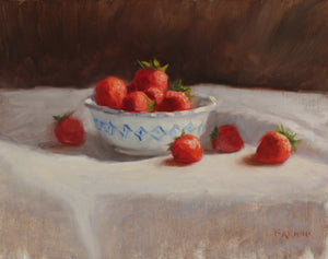 """Strawberries in a Blue and White Bowl,"" framed oil painting"