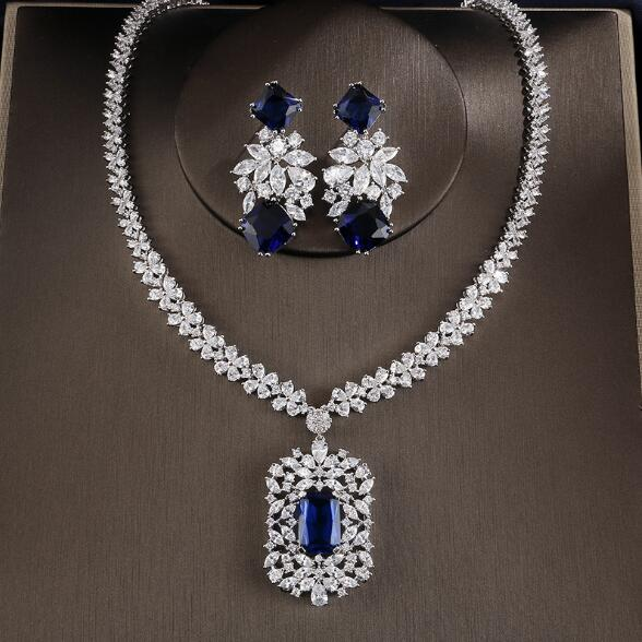Cubic Zirconia Tag Necklace Earring Jewelry Set