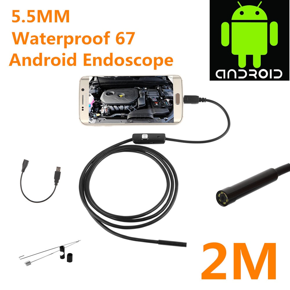 Waterproof Mini Android Flexible Endoscope Camera With 6 Bright LED Lights