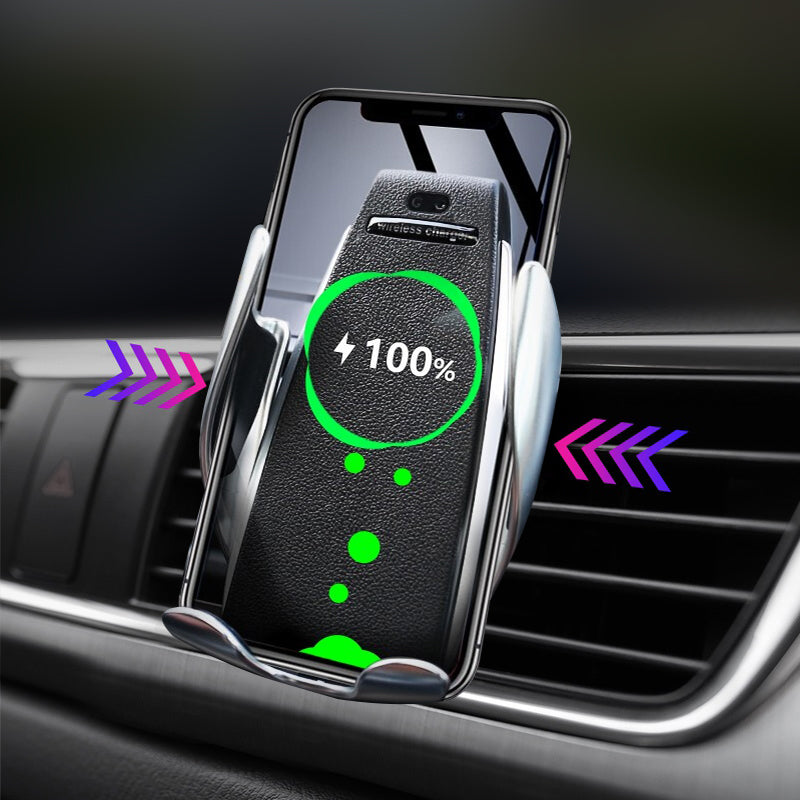 Automatic Clamping Wireless Car Phone Holder Charger 360 Degree Rotation