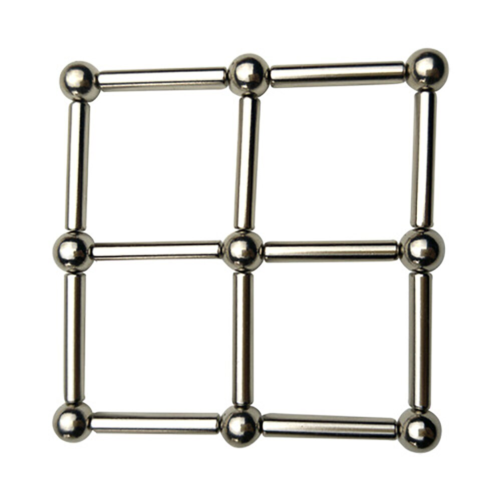 Magnetic Building Blocks Set Sculpture Desk Toys For Adults Relief Stress Fidget Puzzle Toys With Magnet Stick and Silver Ball