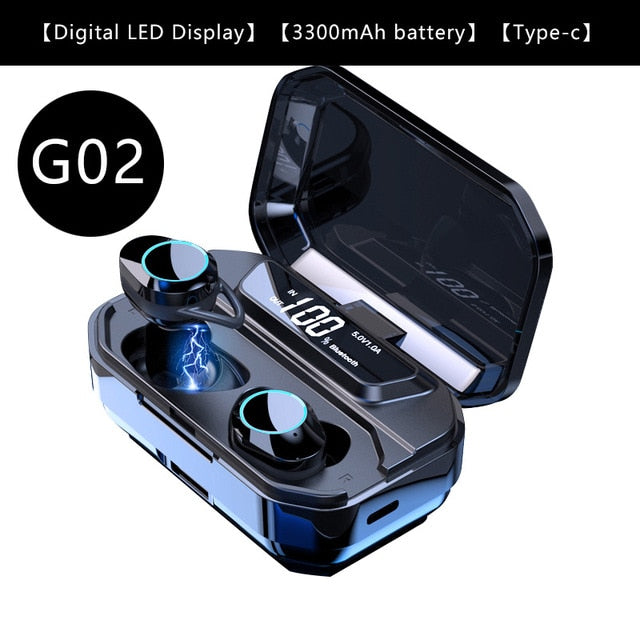 G02 V5.0 Bluetooth Stereo Wireless Bluetooth With Type-C Charger Case and LED Display
