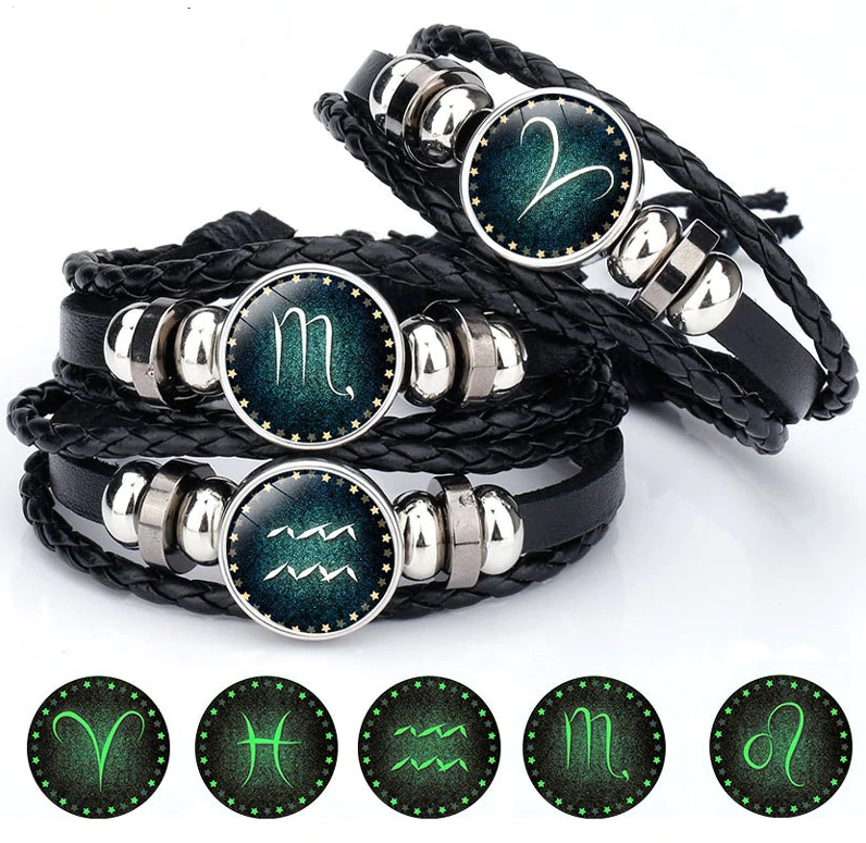 12 Constellation Luminous Bracelet Men Leather Bracelet Charm Bracelets for Men Boys Women Girl Jewelry Accessories Gifts