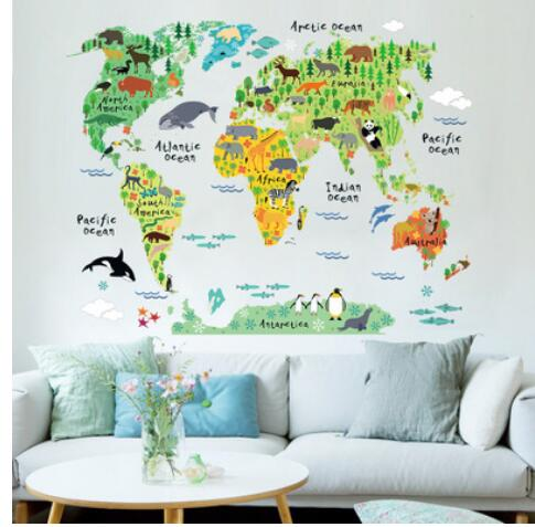 Tube animal world map wall stickers living room Bedroom Office home decoration wall decal mural art diy office wall art