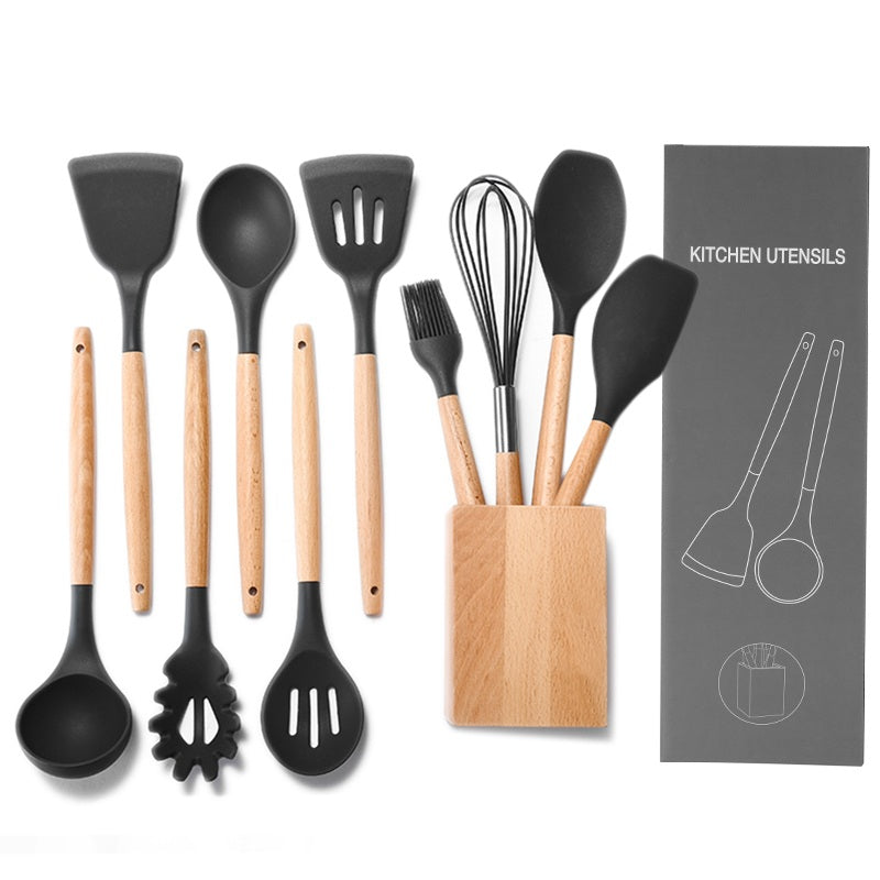 Premium Silicone Kitchen Utensils 10-Piece Cooking Utensils Set with Bamboo Wood Handles