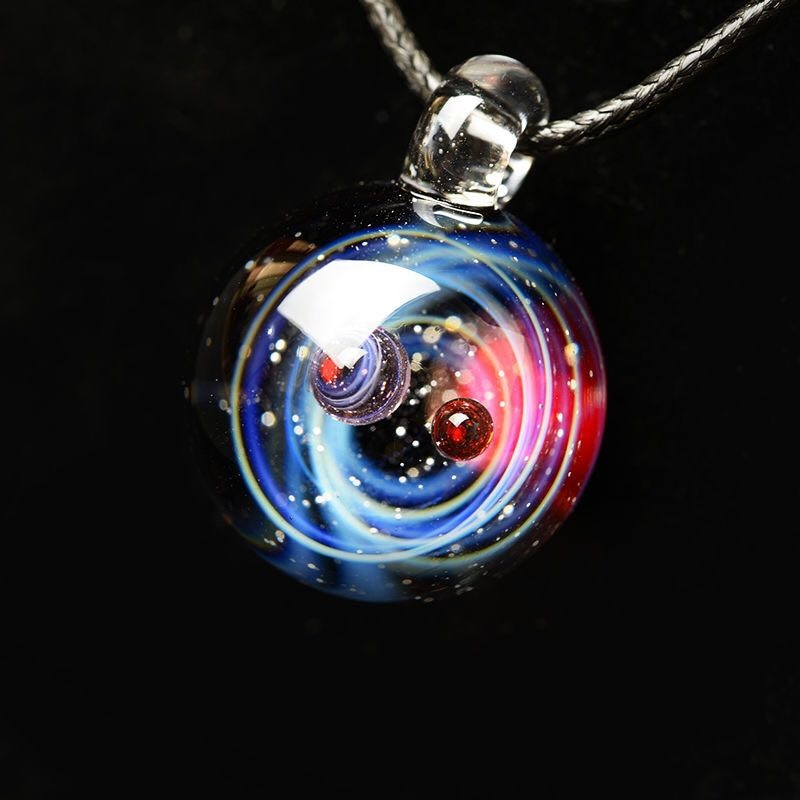 Universe Glass Bead Planets Pendant Necklace Galaxy Rope Chain Solar System Design Necklace