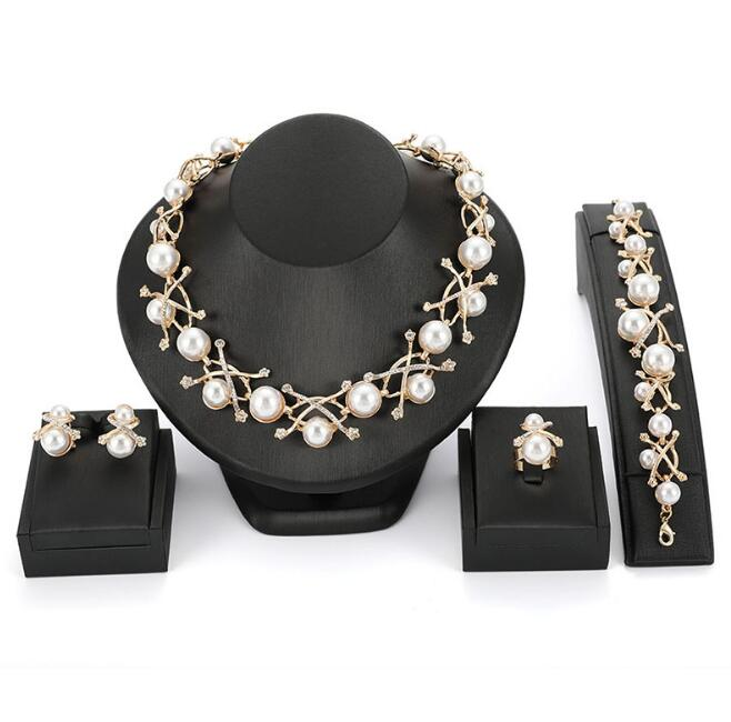 Imitation Pearl Wedding necklace earring set Bridal jewelry set