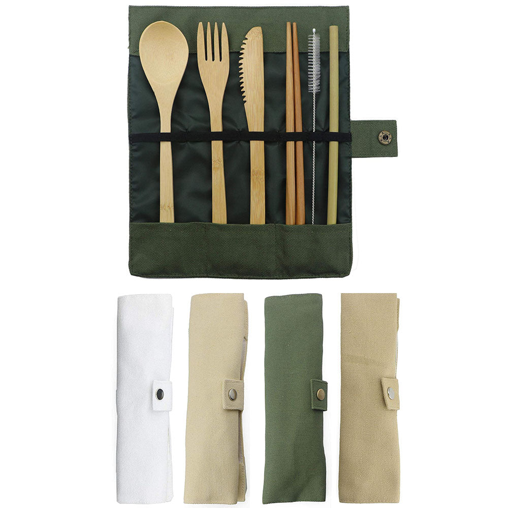 7-Piece Wooden Flatware Cutlery Set Bamboo Straw Dinnerware Set With Cloth Bag Knives Fork Spoon Chopsticks Travel Wholesale