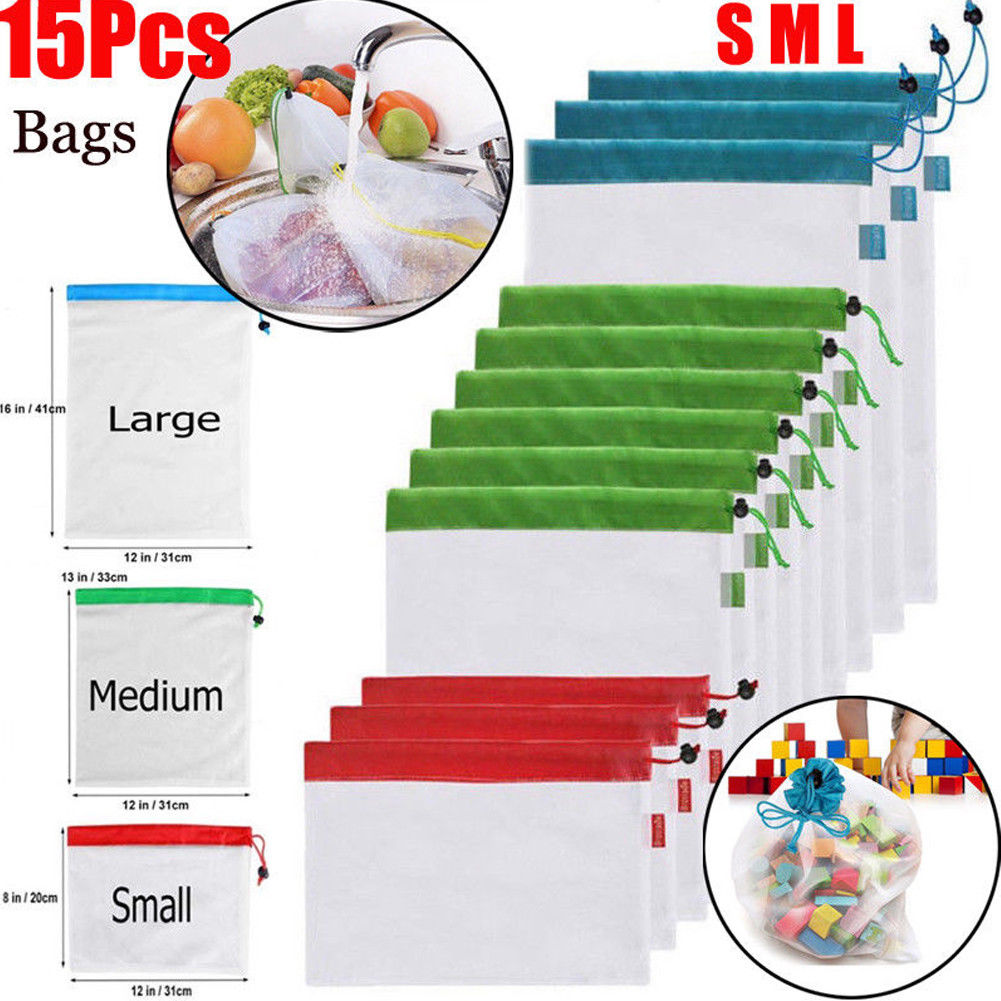 12pcs Reusable Mesh Produce Bags Washable Eco Friendly Bags for Grocery Shopping Storage Toys Fruit Vegetable Storage Bag