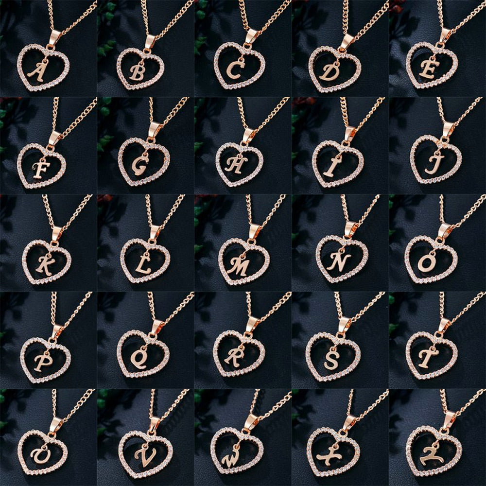 Romantic Love Pendant Necklace For Girls 2019 Women Rhinestone Initial Letter Necklace Alphabet Gold Collars Trendy New Charms