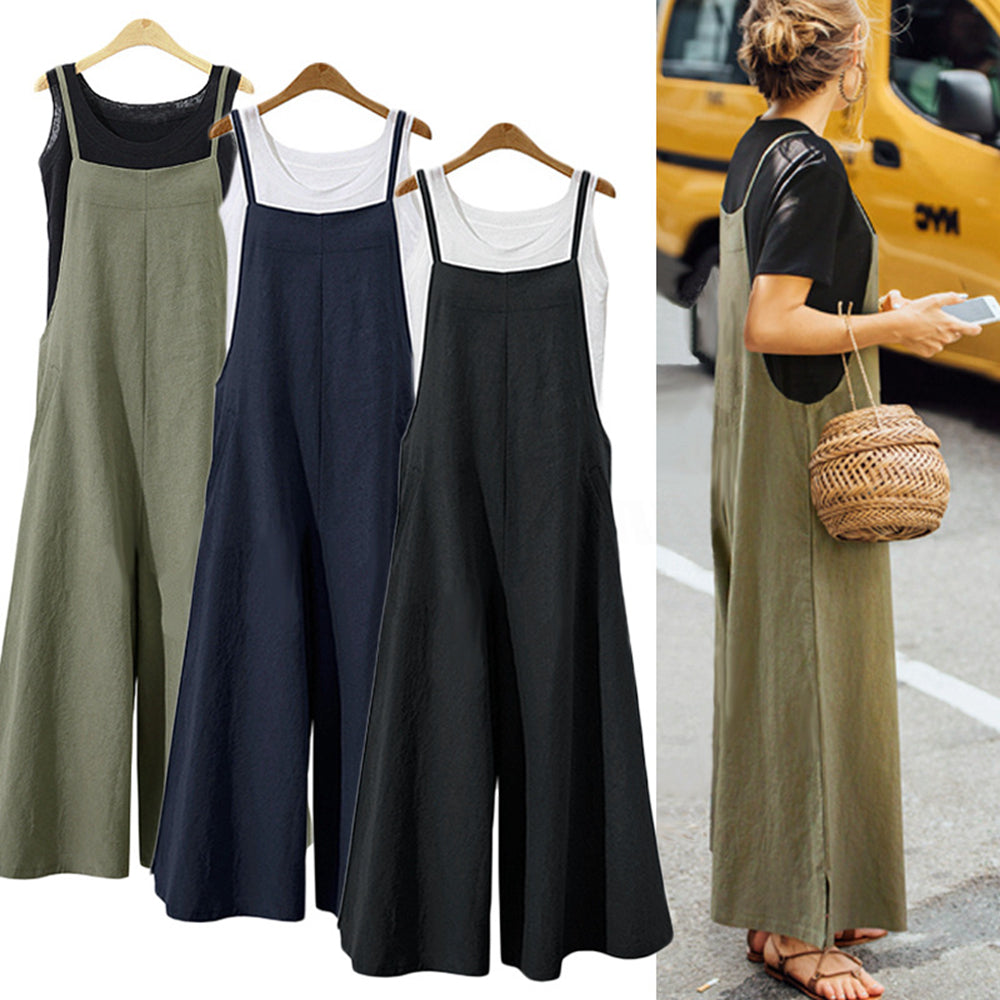 S-5XL 2018 Summer Women Strappy Solid Comfy Wide Leg Jumpsuits