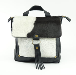 Leather Convertible Backpack in Black & White Cowhide