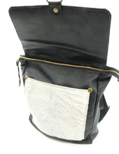 Load image into Gallery viewer, Leather Convertible Backpack in Black & White Cowhide