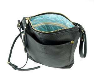 Small Crossbody Purse in Black Leather