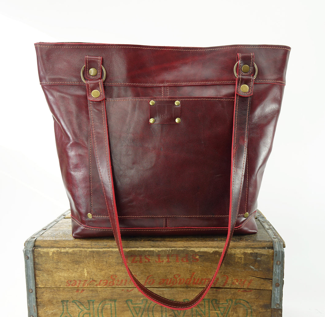 Brick Red Leather Zip Top Tote Shoulder Bag