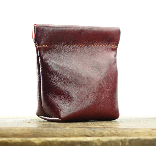 Leather Squeeze Pouch in Pinks and Reds