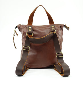Cowhide Leather Convertible Backpack in Chestnut Brown