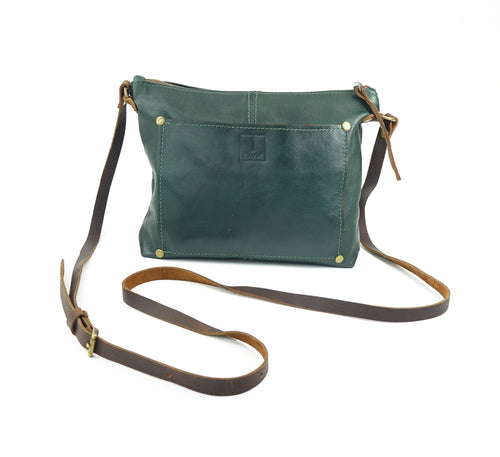 Small Crossbody Purse in Forest Green Leather