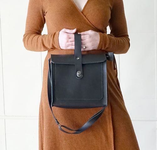 Leather Satchel Shoulder Purse in Black