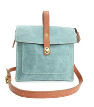 Load image into Gallery viewer, Leather Satchel Shoulder Purse in Teal Blue