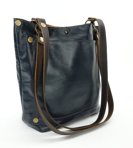 Everyday Tote Bag in Navy Blue Leather