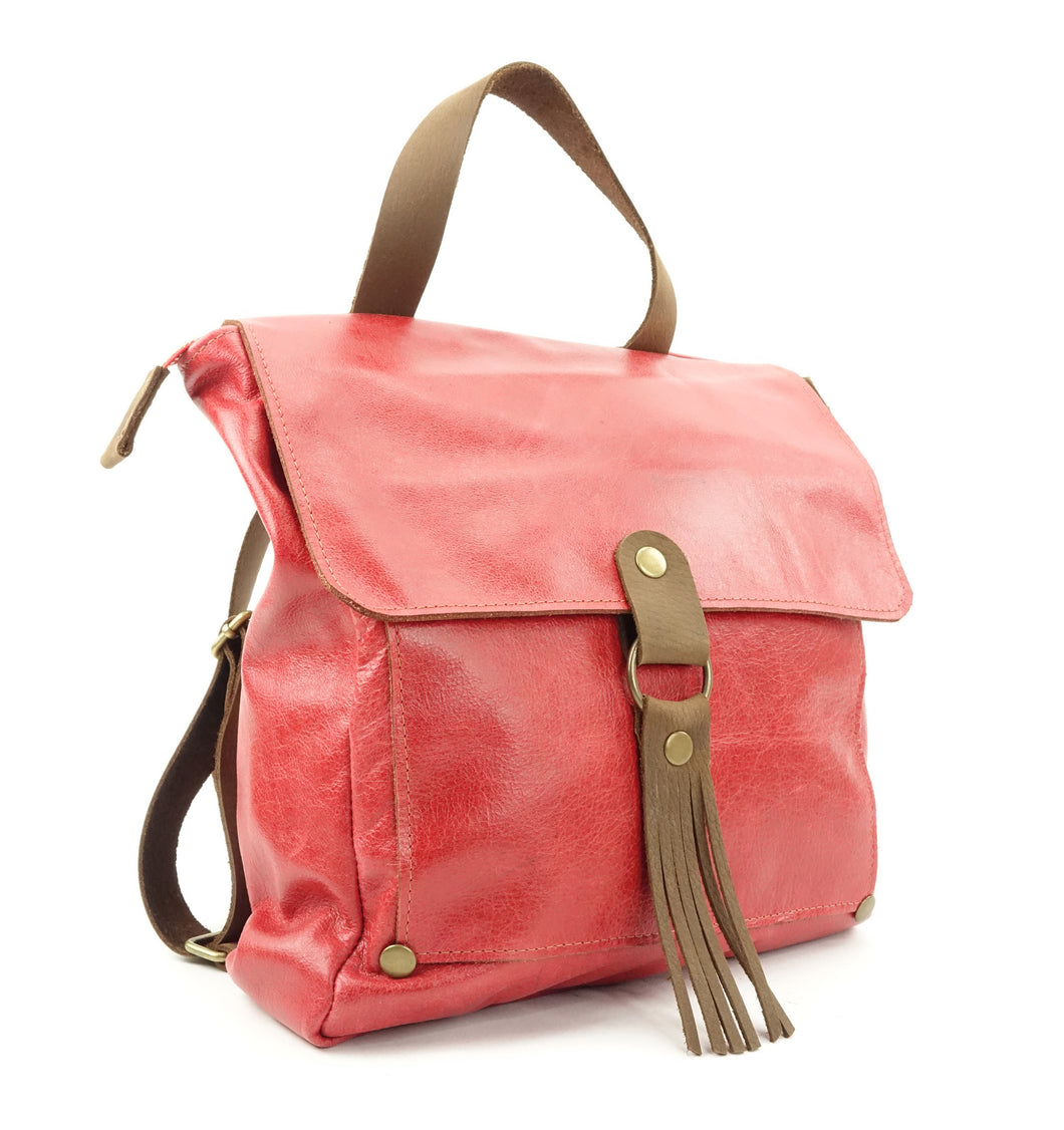 Red Leather Backpack Convertible to Shoulder Bag on Sale