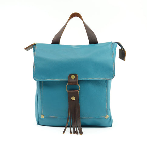Leather Convertible Backpack in Teal Blue