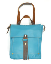 Load image into Gallery viewer, Leather Convertible Backpack in Teal Blue