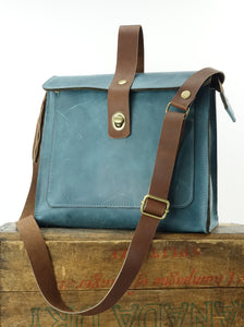 Leather Satchel Shoulder Purse in Teal Blue