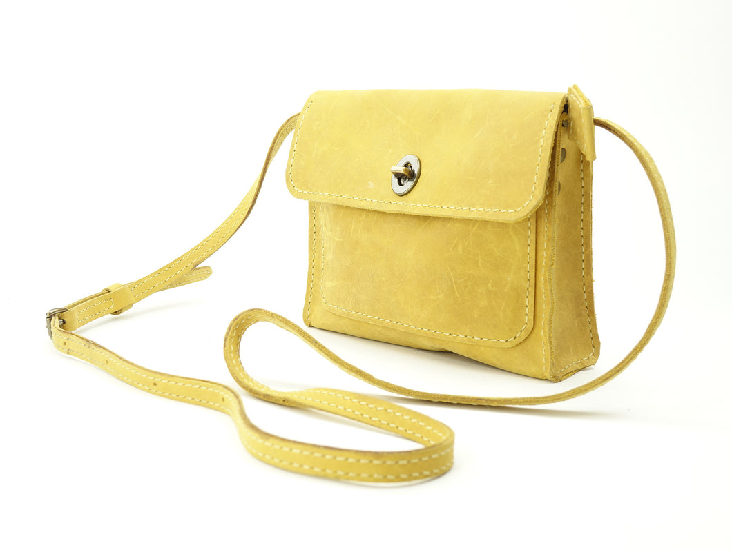 Yellow Leather Cross-body Purse converts to Belt-bag
