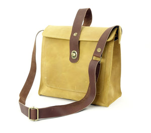 Leather Satchel Shoulder Purse in Daffodil Yellow