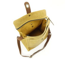Load image into Gallery viewer, Leather Satchel Shoulder Purse in Daffodil Yellow