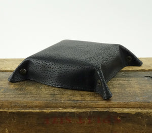 Leather Valet Tray - Cowhide Leather in Black