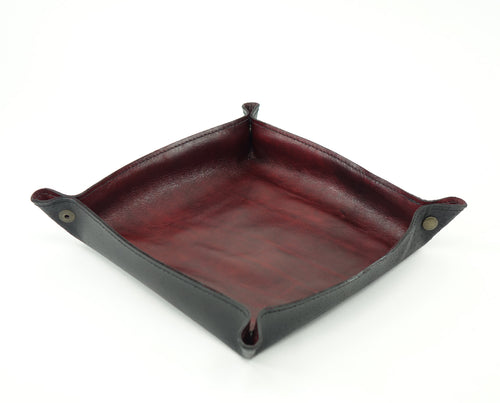 Leather Valet Tray - Brick Red