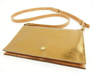 Cross Body Purse converts to Waist Bag in Metallic Bronze Leather