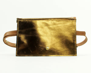 Metallic Bronze Leather Cross Body Purse and Waist Bag