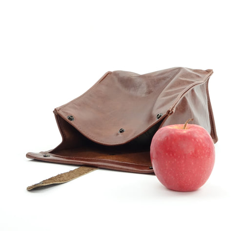 Chestnut Brown Leather Lunch Bag