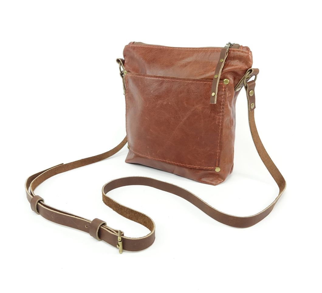 Chestnut Brown Leather Waist Bag Fanny Pack converts to Cross Body Purse