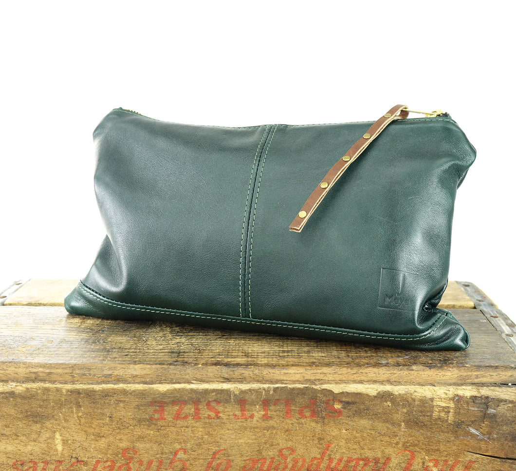 Leather Zip Pouch - Large in Forest Green