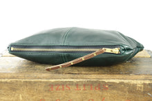 Load image into Gallery viewer, Leather Zip Pouch - Large in Forest Green