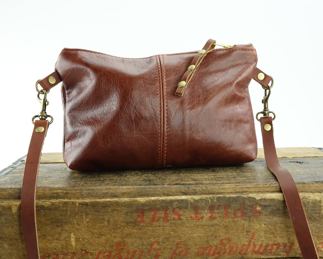 Small Crossbody Purse in Chestnut Brown Leather