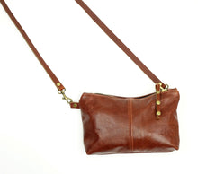 Load image into Gallery viewer, Small Crossbody Purse in Chestnut Brown Leather